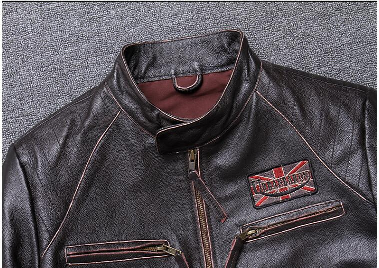 H6da90880095c4dc8b2e49ba7b15128b4a 2019 Vintage Brown Men Slim Fit Motorcycle Leather Jacket Plus Size XXXXL Genuine Cowhide Spring Biker's Coat FREE SHIPPING
