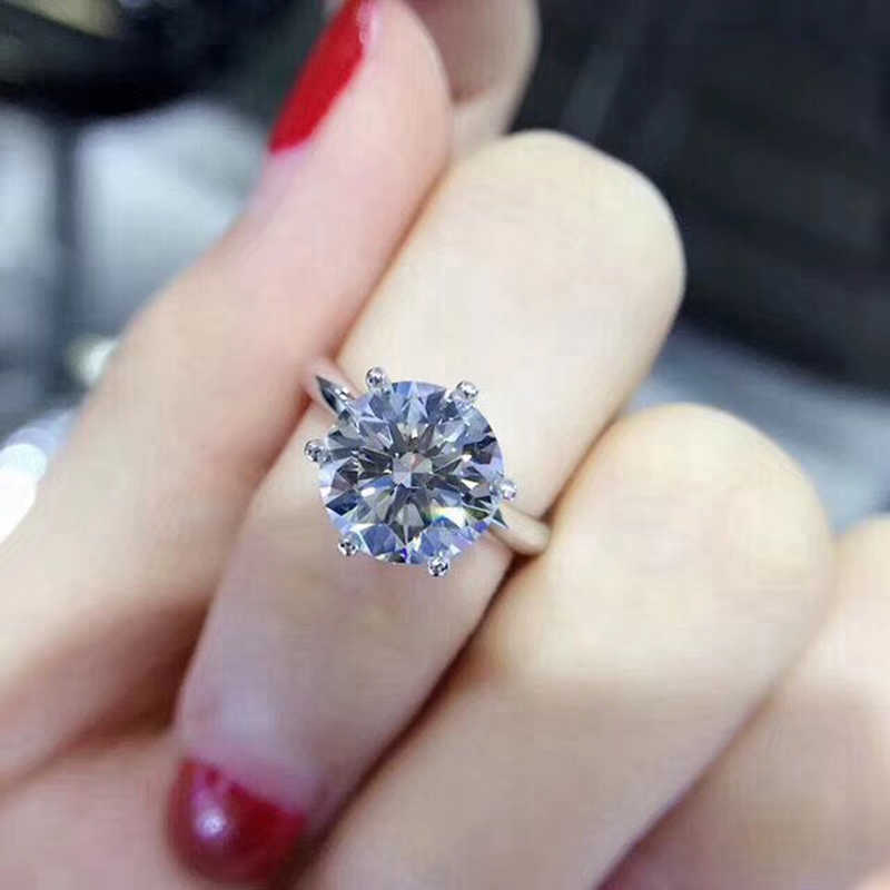 YANHUI con certificato 18KRGP Stamp anello in oro bianco massiccio puro anello rotondo in oro 8mm 2.0ct fedi nuziali in pietra per donna ZSR168