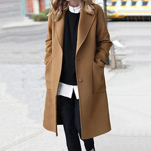 Winter Casual Vintage Plus Size Wool Long Trench Coat Women Elegant Black Office Ladies Outwear Fashion Pocket Autumn Overcoat