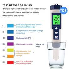 5 ב 1 TDS/EC/PH/מליחות/טמפרטורת מד דיגיטלי מים באיכות צג Tester לבריכות, שתיית מים, אקווריומים