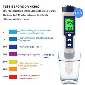 Image 1 - 5 in 1 TDS/EC/PH/Salinity/Temperature Meter Digital Water Quality Monitor Tester for Pools, Drinking Water, Aquariums