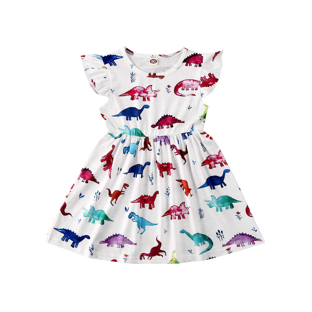 1-6Y Toddler Kids Baby Girl Dress Cartoon Animal Print Ruffles Sleeve Knee Length A-Line Dress Summer Outfits