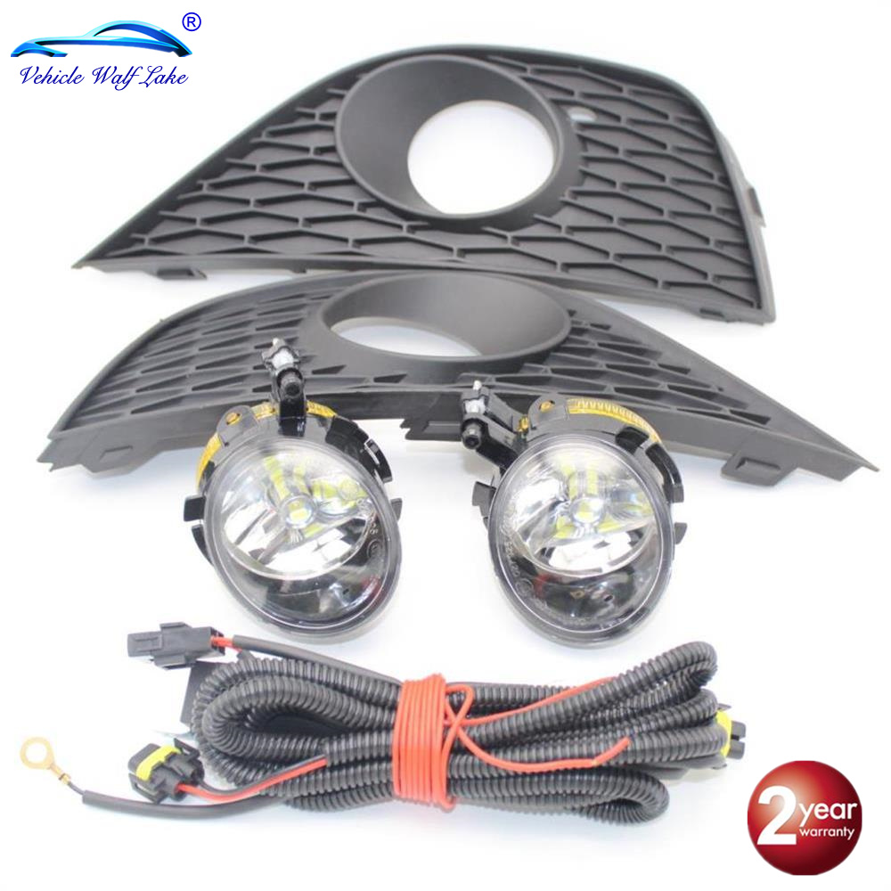 LED Car Light For Seat Ibiza 2009 2010 2011 2012 Front LED Fog Light Fog Lamp Wire Fog Light Grille Cover Bulbs Kit
