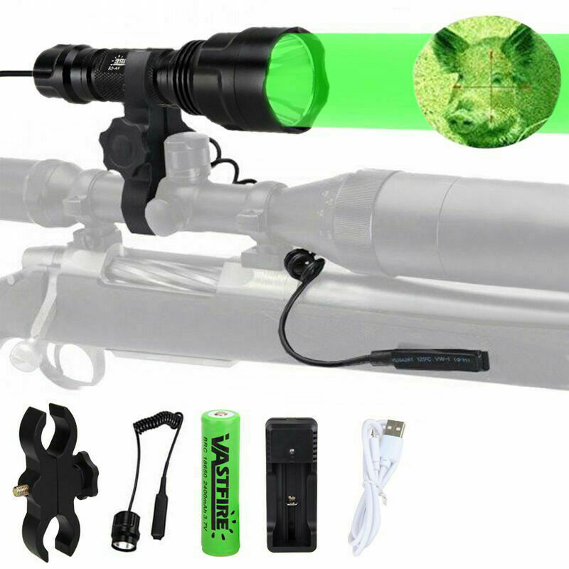 5000 Lumen Led Flashlight White/Green/Red Tactical Hunting Rifle Lantern Outdoor Portable Torch+18650+Charger+Switch+Rfile Mount