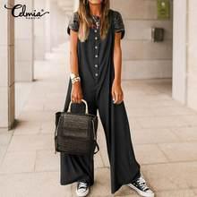 Celmia винтажные длинные женские комбинезоны в стиле палаццо