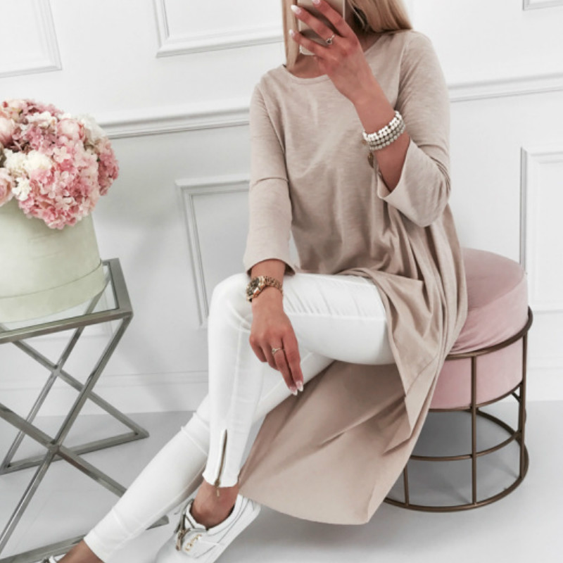 Asymmetrical Tunic Tops Women's Blouse Long Sleeve Irrgular Maxi Blusas 2019 Spring O-neck Autumn Women Office Tops Shirts GV930