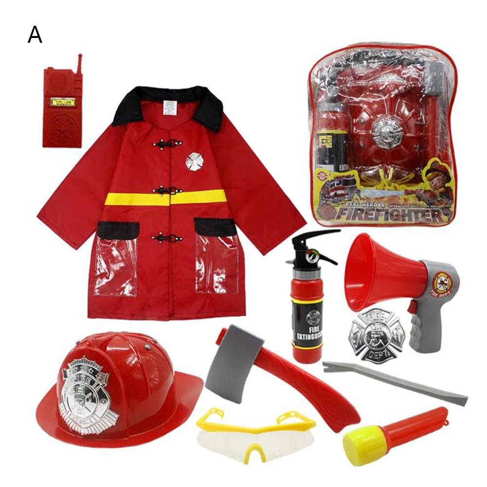 11pcs Fireman Toy Set Firefighter Cosplay Toys For Kids Fireman Pretend Play Chief Role Play Costume Dress-Up