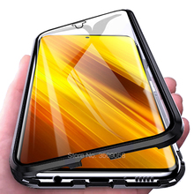 Custodia a vibrazione in vetro a doppia faccia in metallo magnetico a 360 ° per Pocophone Litte Poco Poko Poxo X3Pro X3 X 3 3X NFC PocoX3 Pro Coque Cover