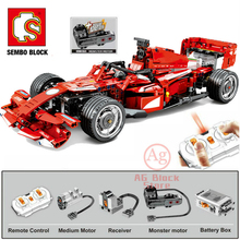 Sembo-Block Motor City-Technic F1 Brick-Toy Constructor with Racer Remote-Control-Cars