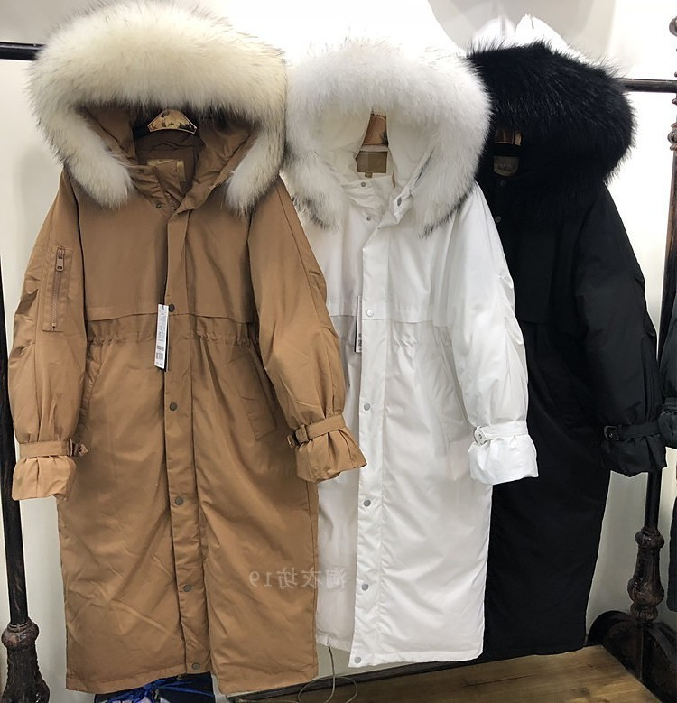 Winter White Duck Down Jacket Women Hooded Long Coat Raccoon Fur Collar Warm Womens Down Jackets Brands 2020 KJ3035
