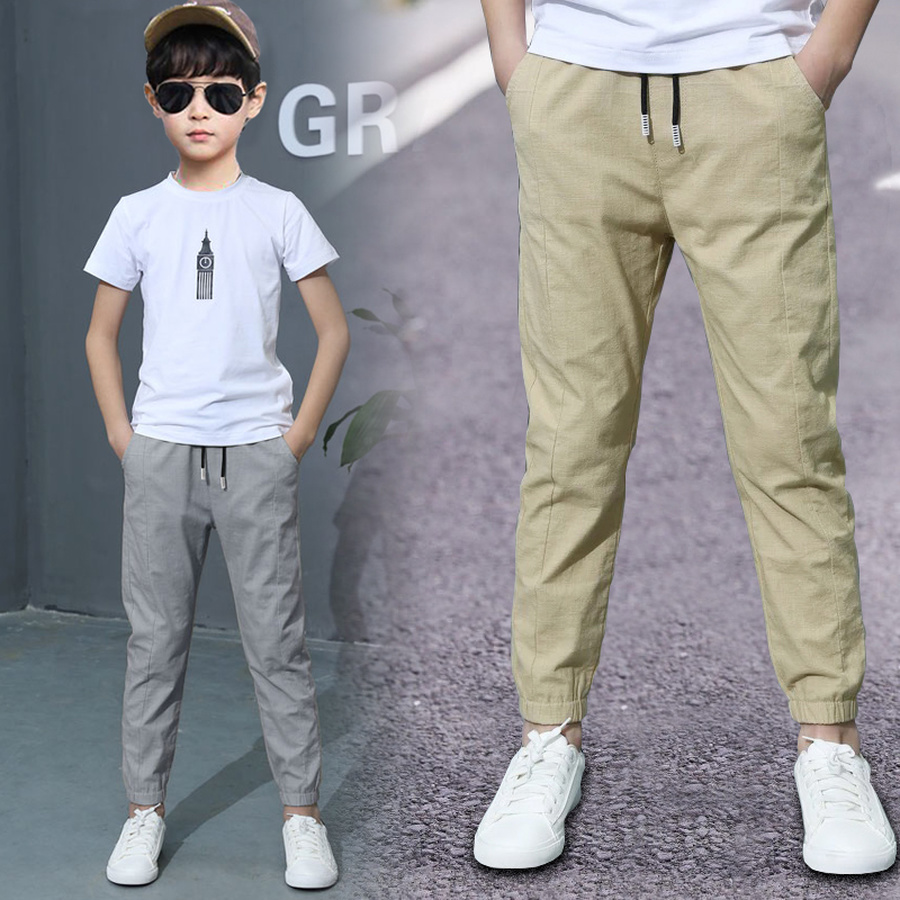 Boys' Solid-Color Straight Trousers