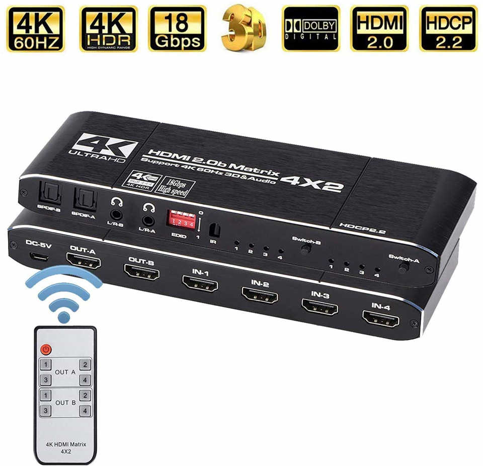 2020 4K@60Hz  HDMI Matrix 4x2 Switch Splitter Support HDCP 2.2 IR Remote Control HDMI Switch 4x2 Spdif 4K HDMI 4x2 Matrix Switch