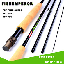 цена на Carbon Fly Fishing Rod 8FT #3/4 9FT #5/6 Fishing Rod 2.7M Fly Rod 4 Sections Hard Rods Trout Fishing Pole Fish Tackle Pesca