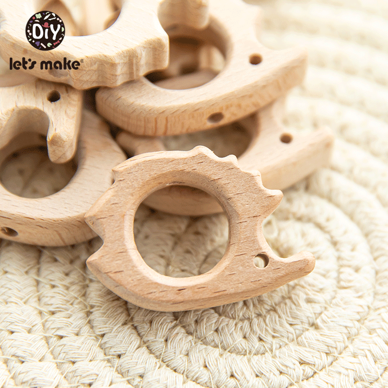 10PC Baby Wooden Teether Animal Beads Beech Rodent Star DIY Pacifier Chain Teething Bracelet Accessories Montessori Newborn Gift
