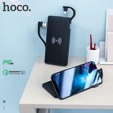 Hoco 3in1 QC3.0 + PD 18W batterie externe 10000mAh banque dalimentation de chargeur sans fil avec câble pour iPhone X 11 Pro HUAWEI Mate 30 chargeur rapide