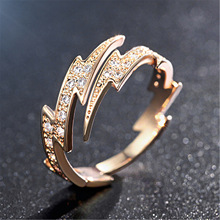 Cool Hong Kong Style Korean-style Fashionable Plated Rose Gold Adjustable Color Gold Lightning Ring Women's Finger Ring retro style engraving rose shape women s finger ring