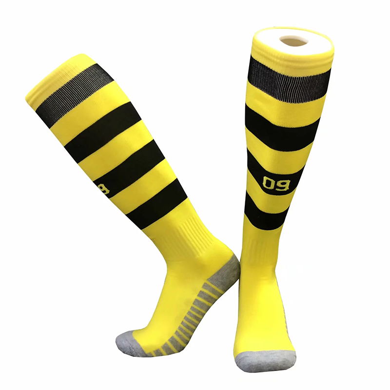 40-43 Size Barreled Socks Cotton Socks High Quality European Club Soccer Socks For Dortmund Football Socks