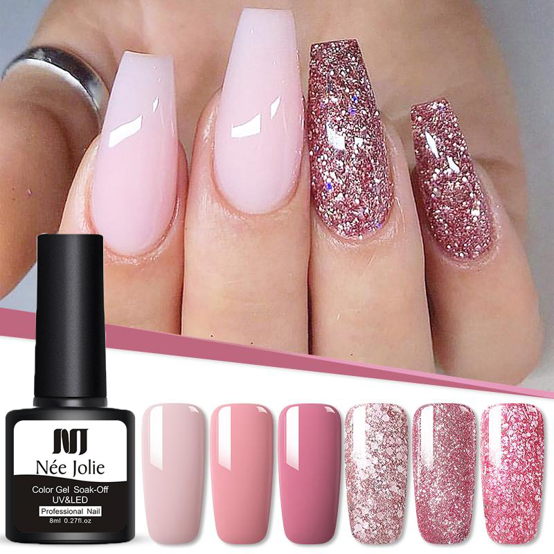 NEE JOLIE 8ml UV Gel Nail Polish Rose Gold Glitter Sequins Soak Off UV Gel Varnish Color Nail Gel Polish DIY Nail Art Varnish