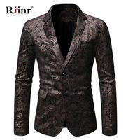 Men Double Button Gold Foil Stamping Golden Floral Printed Suit DJ Club Stage Wedding Suit Slim Formal Fit Casual Men Blazer