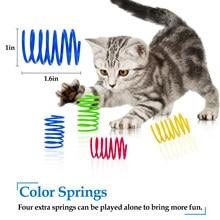 4/8 pces brinquedo da mola do gato plástico colorido bobina espiral molas pet ação grande durável interativo brinquedos jogo cérebro brinquedo do gato