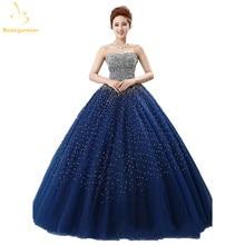 Bealegantom azul royal quinceanera vestidos de baile 2021 frisado cristal rendas até doce 15 16 vestidos de 15 anos qa1087