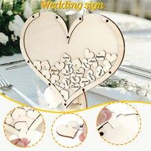 Livro de visitas do casamento com suporte corações de amor personalizados rústico decoração de casamento rústico doce corações de madeira pequenos # p5