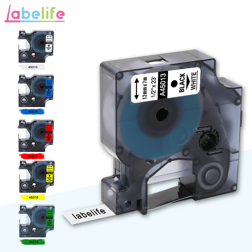 Labelife 1pcs Multicolor 45013 Compatible Dymo D1 Manager 12mm Black On White Label Ribbons  For Dymo Label Manager 160  280 210