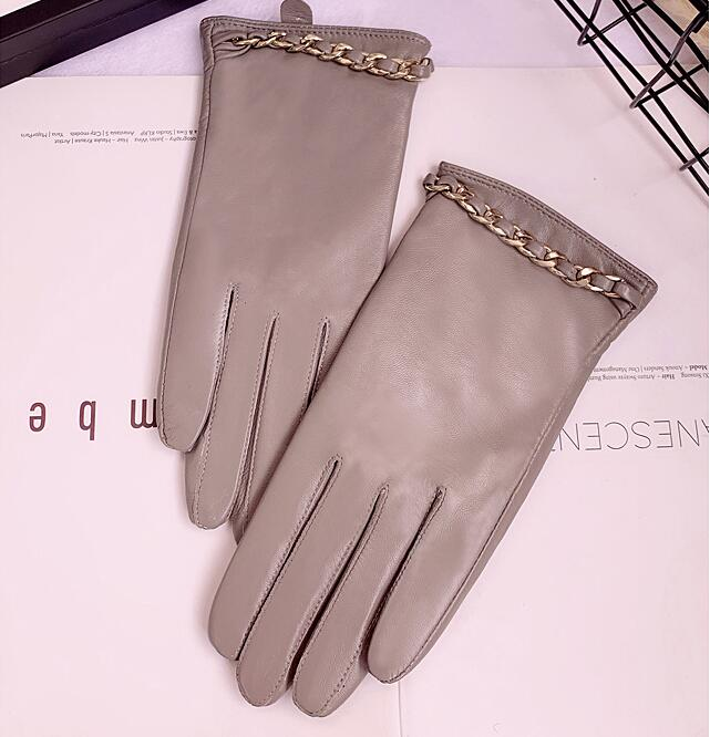 Women's Autumn Winter Thicken Warm Fleece Lining Glove Female Natural Sheepskin Leather Touchscreen Chain Driving Glove R2661