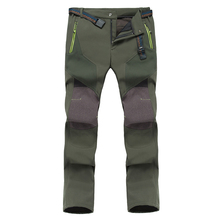 Men's Hiking Pants Fleece Waterproof Windproof Mountain Trousers with Zipper Pockets