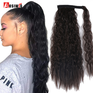 AOSIWIG Synthetic Natural Long Kinky Curly Ponytail Wrap Around Hair Tail Extension Black Brown Fluffy Hair Pieces for Women
