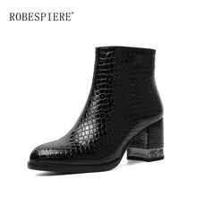 купить ROBESPIERE New European Style Casual Ankle Boots Women Zipper Square High Heel Shoes Woman Warm Plush Genuine Leather Boots B30 по цене 3152.07 рублей