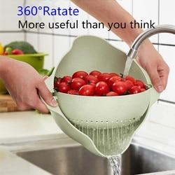 Podwójne spustowy kosz 360 ° obrót odpinany okrągły z tworzywa sztucznego do mycia naczyń ryż sito owoce warzywa kosze do przechowywania|Torby i kosze|   -