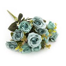 Ornament Artificial Flower Crafts Simulated Party Rose Bouquet Floral Decoration Centerpiece Display(China)
