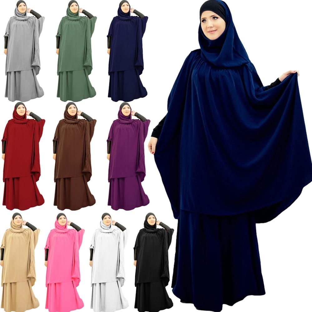 UAE Ramadan Women Hijab Dress Muslim Prayer Garment Sets Islamic Clothing Turkey Namaz Long Khimar Musulman Jurken Abaya Kimono