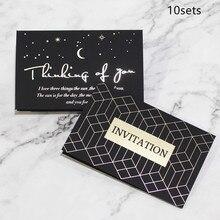 10sets 12.5x8cm Black Gilding Greeting Card Business Invitation Birthday