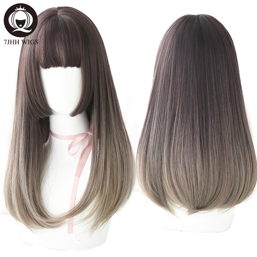 7JHH Classic Aoki Flax Ash Medium Long Remy Hair With Bangs Synthetic Wigs For Women Fashion Delicate Ombre Brown Wigs