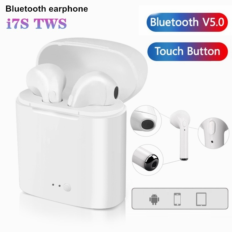 i7s tws Wireless Earphone quality sound in ear Headset Cordless Bluetooth Headphones Charging box For Redmi Huawei Iphone Xiaomi image