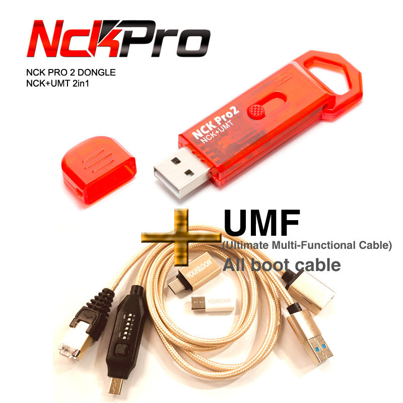 Free Shipping  2019 Newest Original NCK Pro Dongle NCK Pro2 Dongl +MUF ALL BOOT CABLE ( NCK DONGLE+UMT DONGLE 2 In1 )