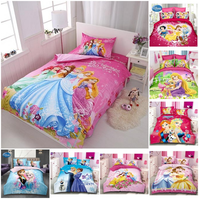 Disney Cinderella Bella Princess Rapunzel Girls Bedding Set Kids Gift Duvet Cover Bed Sheet Pillowcase Twin Single Drop Shipping