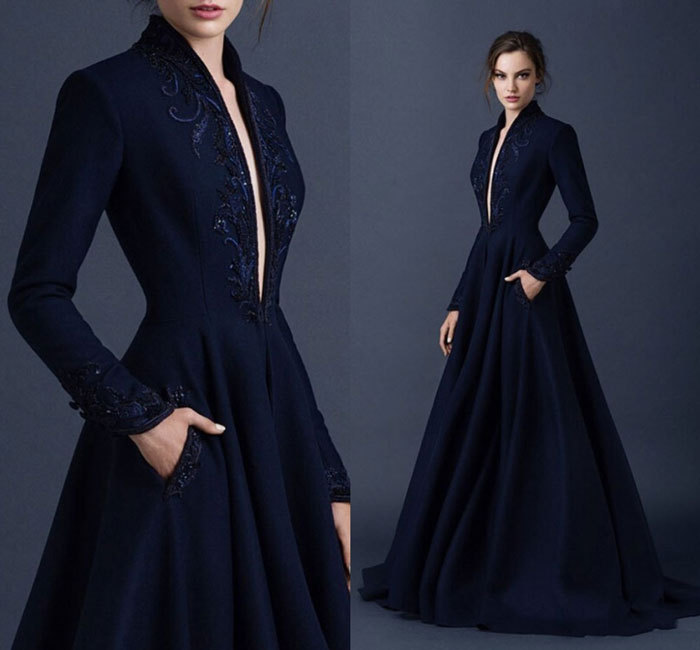2018 Brand Navy Blue Long Sleeves For Winter Deep V-neck Floor Length Long Embroidery Evening Gown Mother Of The Bride Dresses