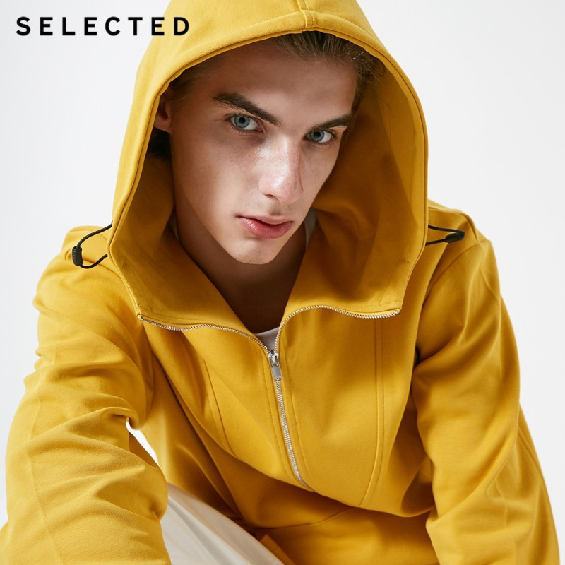 SELECTED Men's Winter Pullover Hooded Cotton Sweatshirt Pure Color Hoodie Clothes C | 41914D503