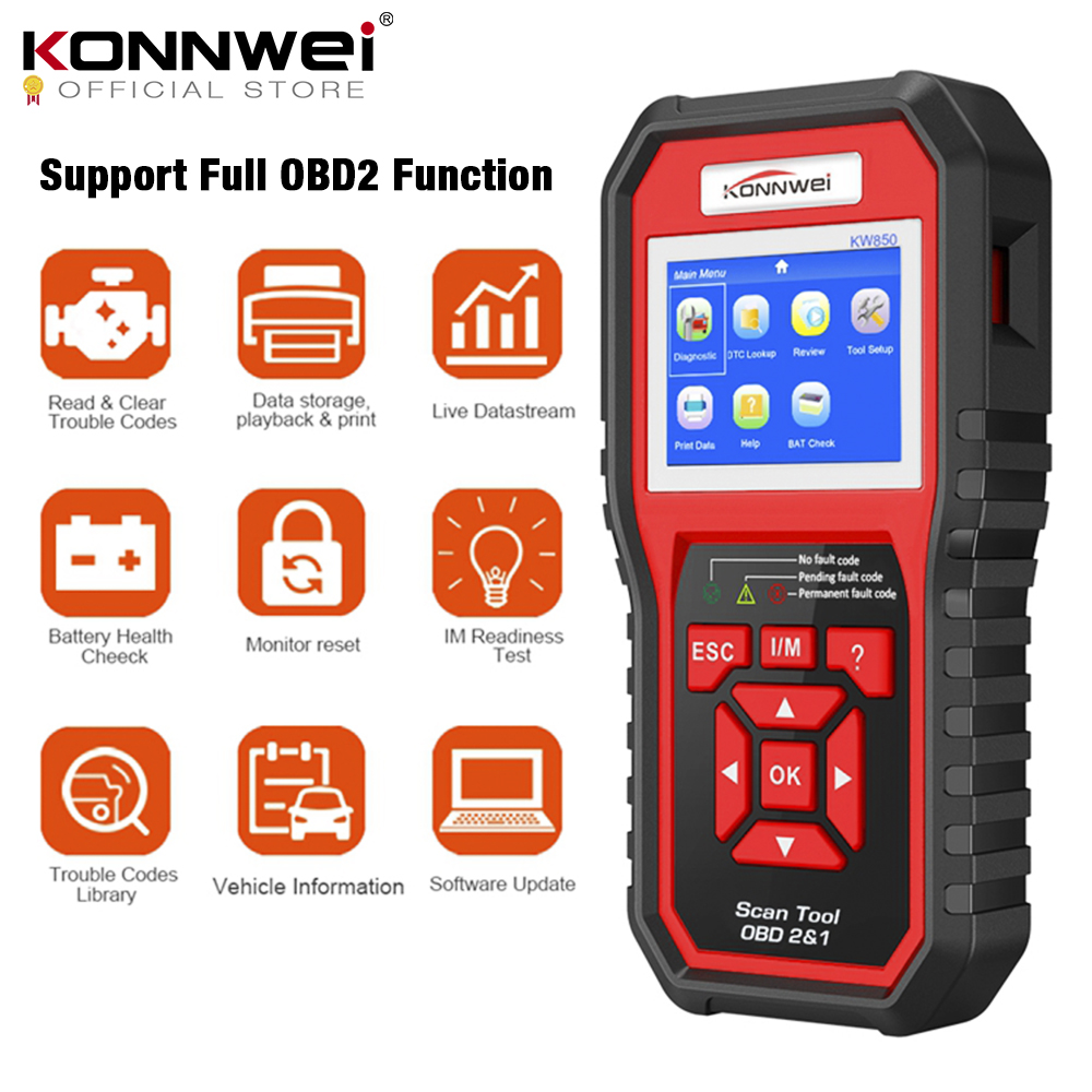 Диагностический прибор OBD2 KONNWEI KW850, полнофункциональный универсальный сканер для считывания кодов двигателя
