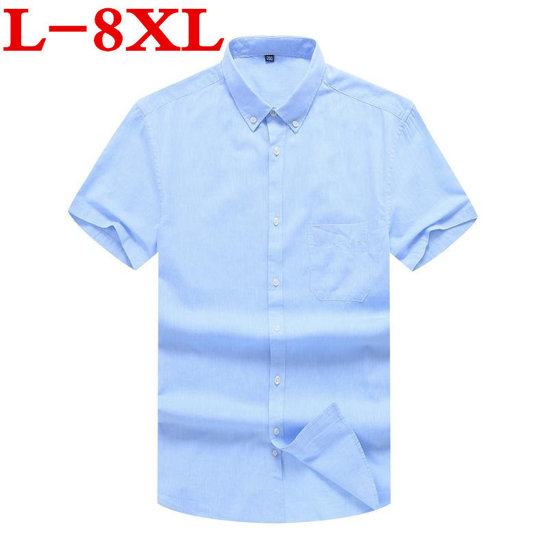 New Big Plus Size 8XL 7XL 6XL New Summer  Short Sleeve Twill Pure Color Business Dress Shirts Formal Work Shirts Men