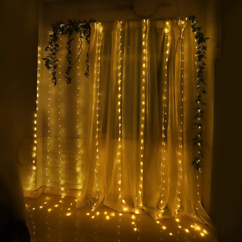 3M LED Curtain Light USB Power Remote Control Eight Function Modes Fairy Christmas Garland Lights String Wedding Party Decor