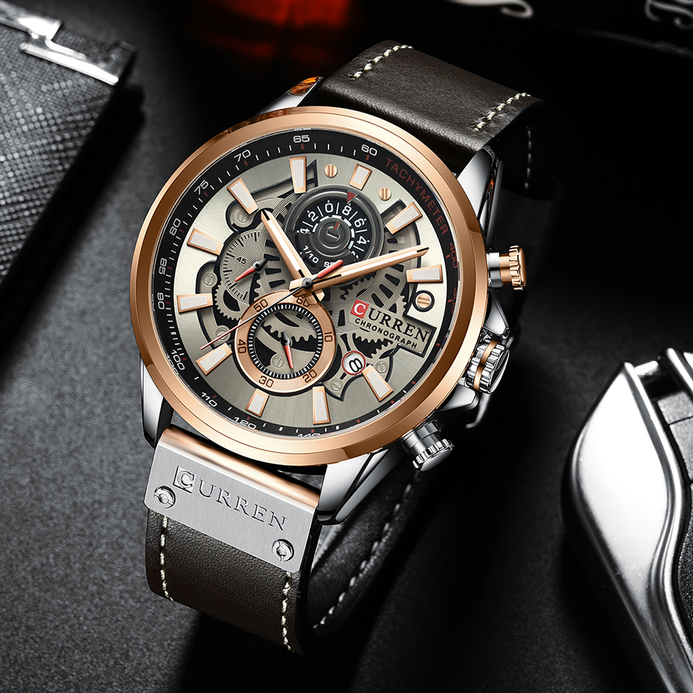 CURREN Watch For Men Top Brand Watches Leather Strap Wristwatch Fashion Chronograph Sport Quartz Clock Male Gift