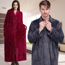 Women Winter Thermal Plus Size Extra Long Thick Grid Flannel Bathrobe Pregnant Zipper Warm Bath Robe Dressing Gown Wedding Robes cheap RUILINGSHA Polyester Microfiber Coral Fleece Geometric Full Ankle-Length Zipper Thicken Long Warm Robe