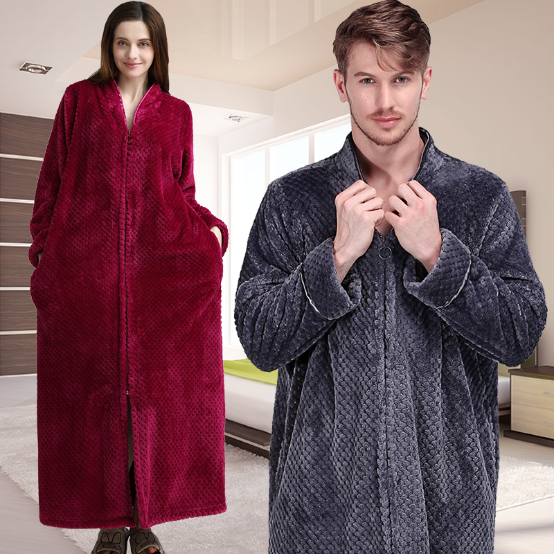 Women Winter Thermal Plus Size Extra Long Thick Grid Flannel Bathrobe Pregnant Zipper Warm Bath Robe Dressing Gown Wedding Robes