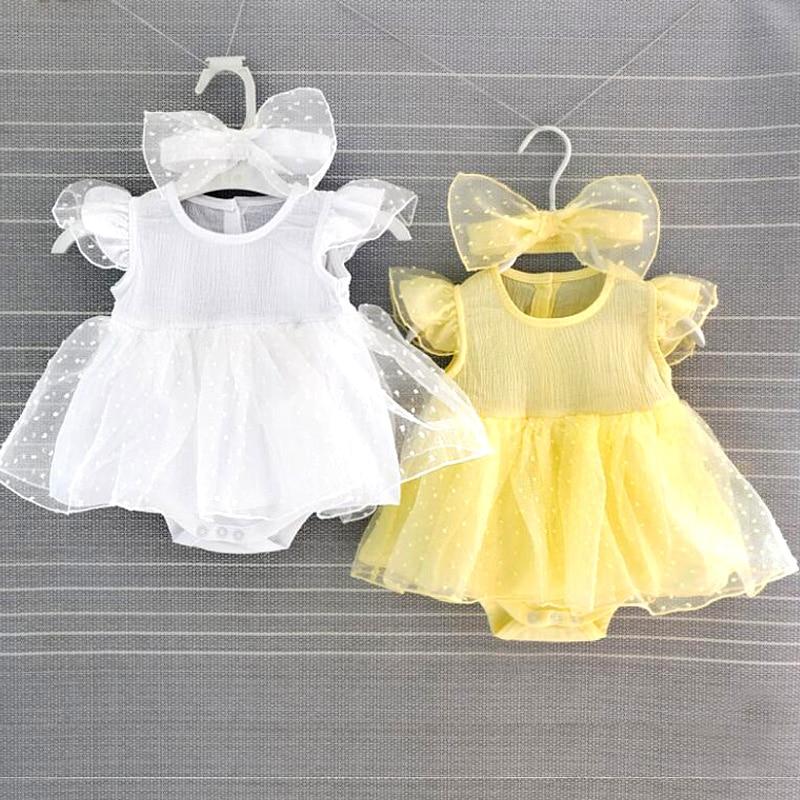 Robes de baptême pour bébé fille, tenue de princesse blanche et jaune, pour nouveau-né de 3 à 6 mois, 2019
