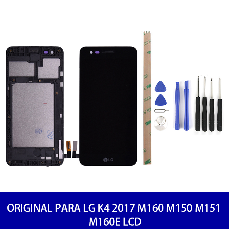 Original For <font><b>LG</b></font> K4 2017 <font><b>M160</b></font> M150 M151 M160E <font><b>LCD</b></font> Display Touch Replacement Parts Tools With Frame 100% Test High Quality image