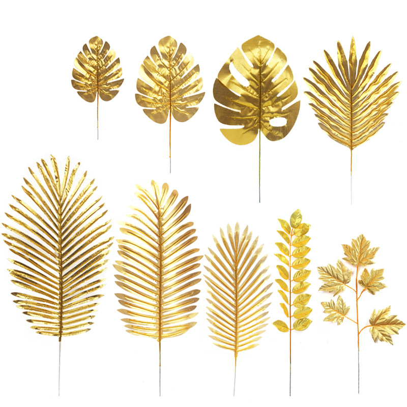 Gold Artificial Monstera Palm Maple Tree Leaves Home Garden Decoration Photography Background Flower Arrangement Accessories(China)
